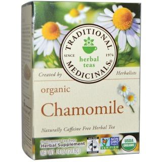 Traditional Medicinals, ハーブティー、 オーガニックカモミール、 カフェインフリー、 16個別ティーバッグ、 0.74オンス (20.8 g)
