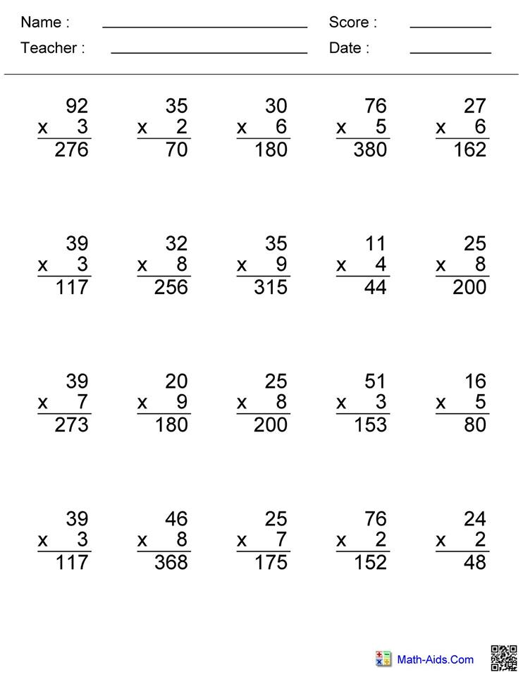 Double Digit Multiplication Worksheet 3 answers   Hoeden ...