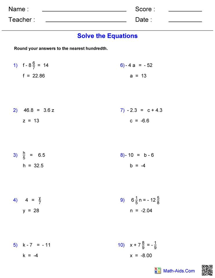 Solving equations worksheet 1 answers   Hoeden Homeschool ...