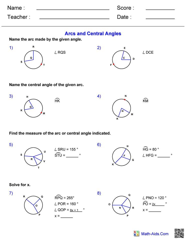 Arcs and central angles worksheet 1   Hoeden Homeschool ...