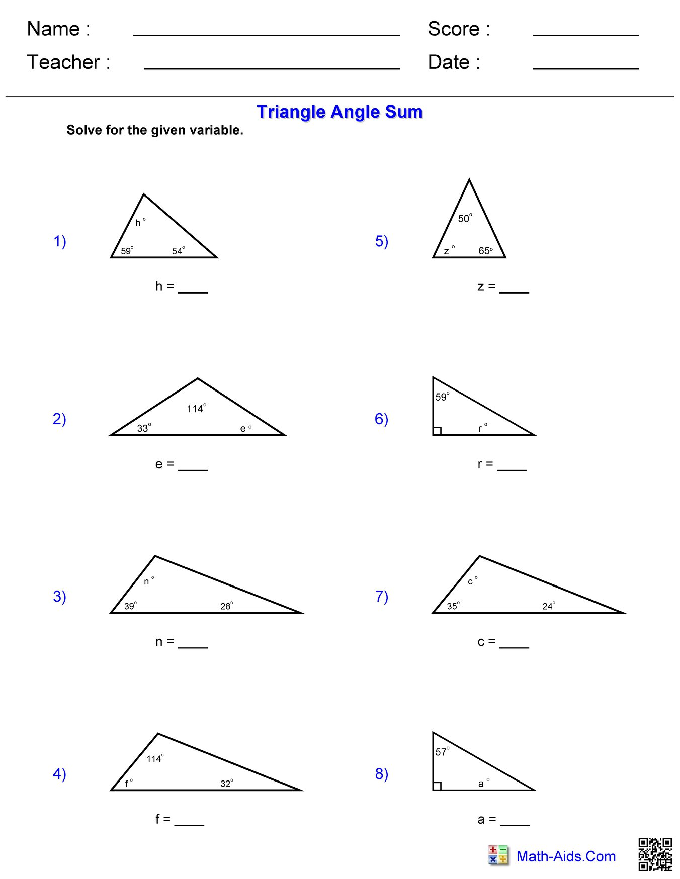 Triangle Angle Sum Hoeden At Home
