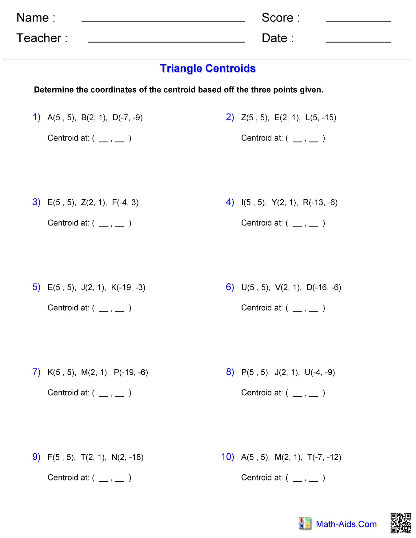 Triangle Centroids Worksheet 2 Hoeden At Home