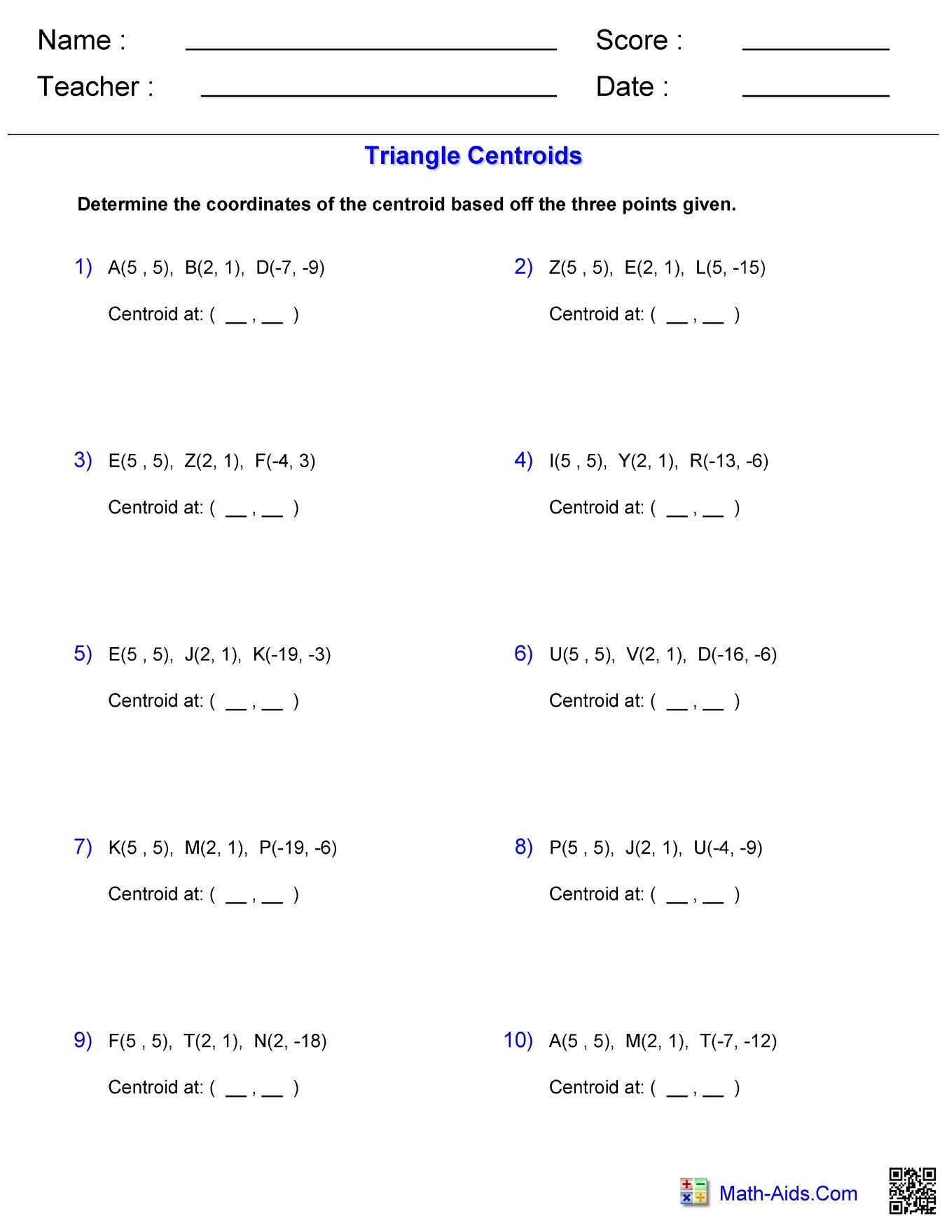 Triangle Centroids Worksheet 2 Hoeden At Home