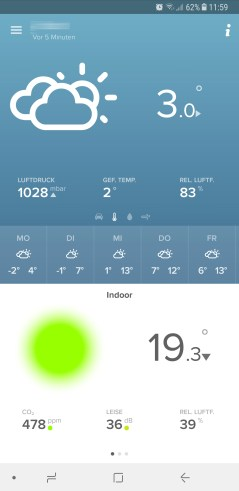 Die App zeigt die aktuellen Außentemperaturen an.