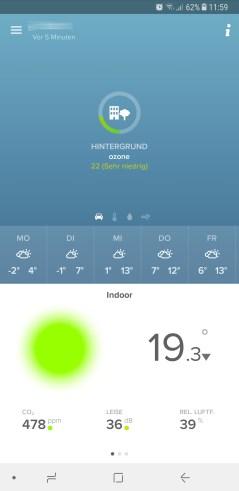 Die App zeigt die Ozon-Werte an