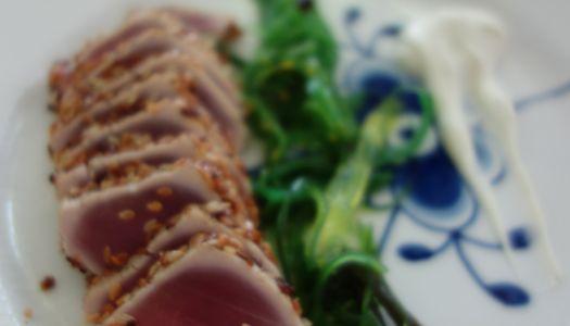 Rå-grillet Tun med wasabi creme