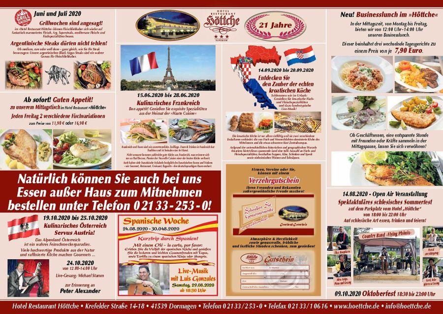 Tischkarte Restaurant Höttche