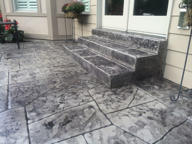 Grey Concrete Patio and Stairs
