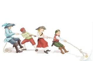 Tauziehen ist ein digitale Aquarellillustration. Aus dem Piraten-Partyplaner. Piratenkinder und ein Pirat ziehen an einem Seil, was dazu dient, die Seite umzublättern.