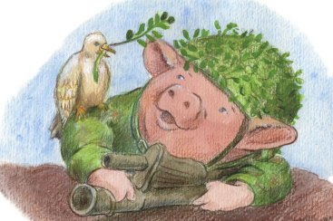A soldier happily accepts the gift of peace. Illustration of a young pig who is sent to protect his country. A white dove is seated on his shoulder with an olive branch in it's mouth.
