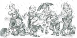 Seven Giants Sneeze Picture to Tongue-Twist to is an pencil illustration based on a German tongue twister: Sieben Riesen niesen weil die Nieselwinde bliesen. Liesen die Winde das Nieseln, dann würden die Riesen nicht niesen. Meaning: Seven giants are sneezing because the rainy winds are blowing. If the winds would stop their drizzling then the giants would stop their sneezing.