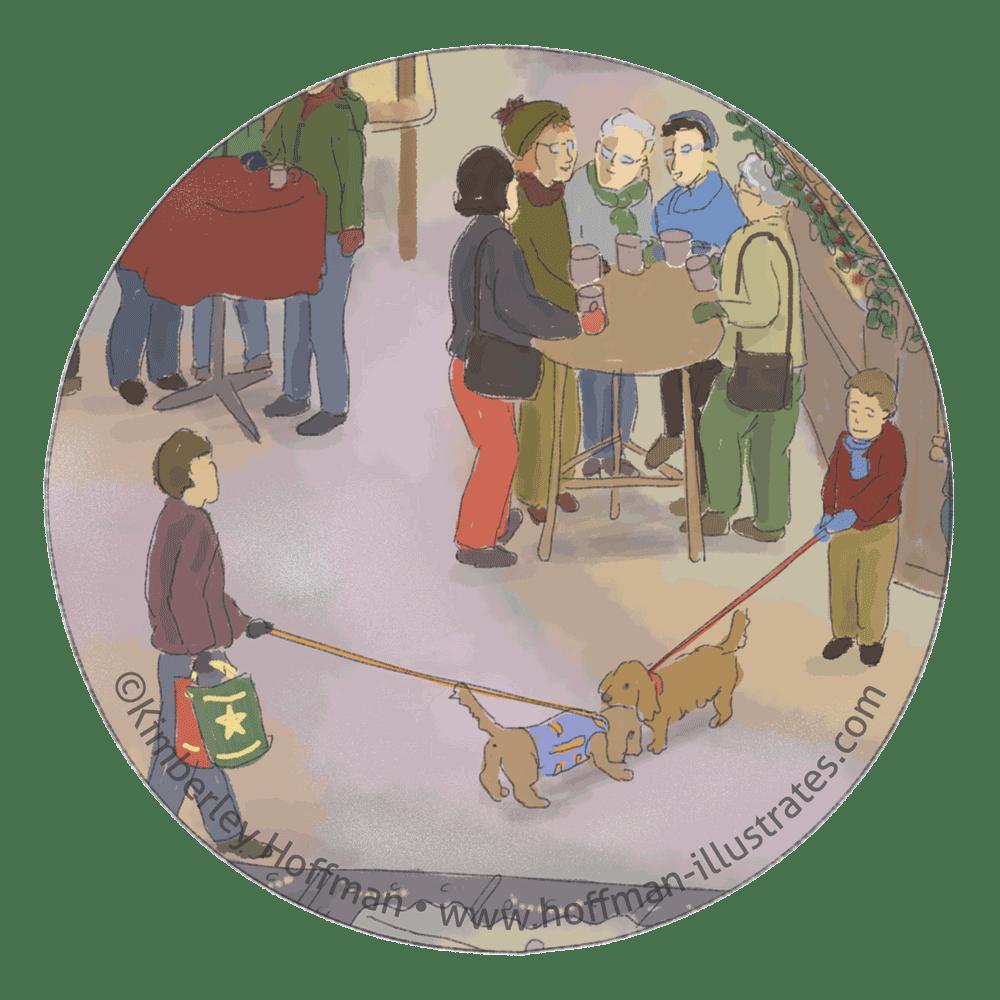 Auch in Heidelberg wimmelt wimmelt es vor Hunden. Zwei kleine Hunden beschnuppern sich auf dem Heidelberger Weihnachtsmarkt.