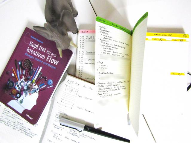"Free your Head for the Creative FlowHead free for the creative Flow-Recipe 2: ""Or would You rather plan?"" Photo of 2 Bullet Journals and of the book, Free your Head for the Creative Flow."