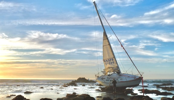 Sailboat wreckage on 17-mile-drive.