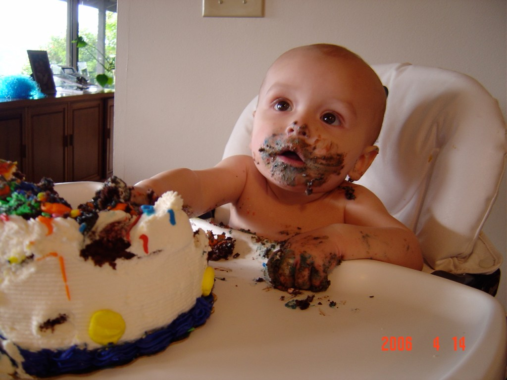 Parker takes down the cake properly.