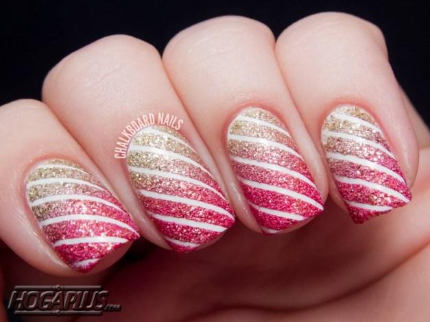 Pink with golden glitter Nail Art Design