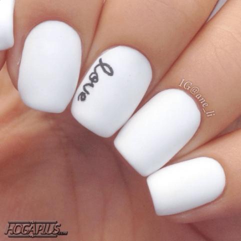 Plain solid white Nail Art Design