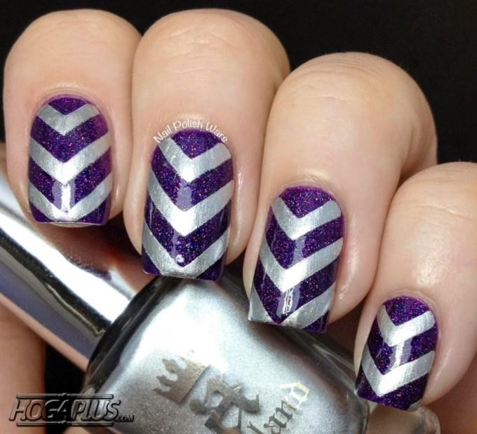 Blue silver ribbon Nail Art