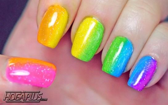 Neon rainbow Nail Art Design