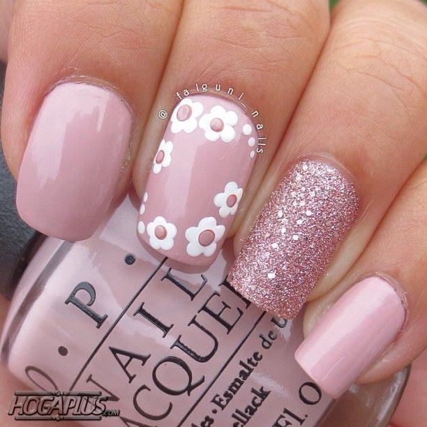 Pink pearl Nail Art Design