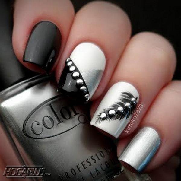 Feather nail art design Ideas