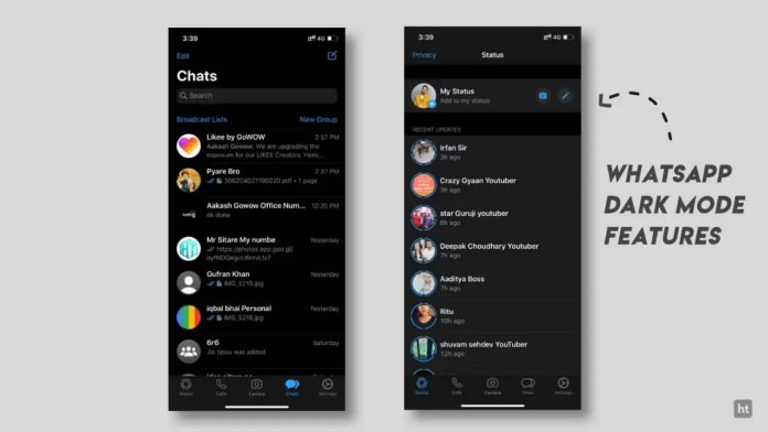 Whtasapp dark mode features in iOS