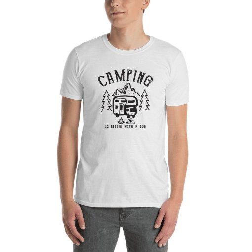 Camping is better with a dog 1a mockup Front Mens White
