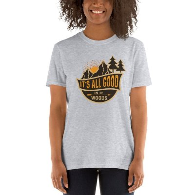 Its all good in the Woods mockup Front Womens 2 Sport Grey