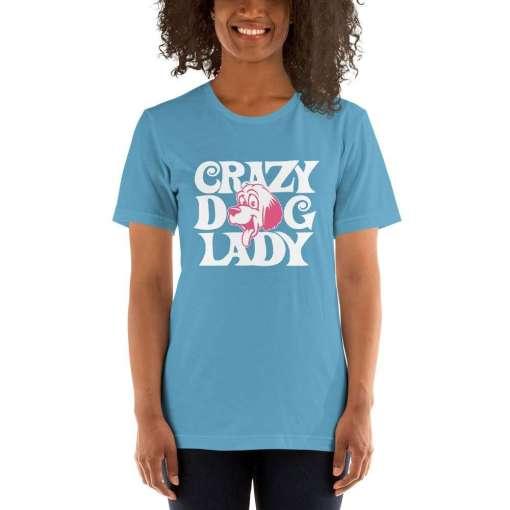 crazy dog lady mockup Front Womens 2 Ocean Blue