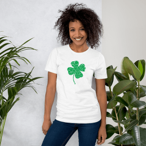 distressed clover mockup Front Womens Lifestyle 2 White