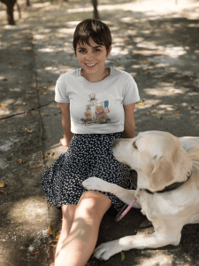 girl with a cute dog wearing a tshirt mockup at the park a17976