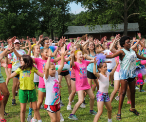 Heart O' the Hills Campers Dancing at Field Day