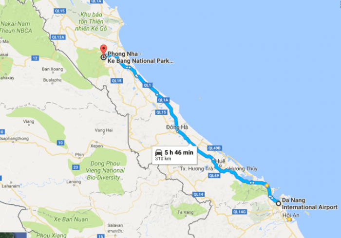 Danang airport to Phong Nha by private car