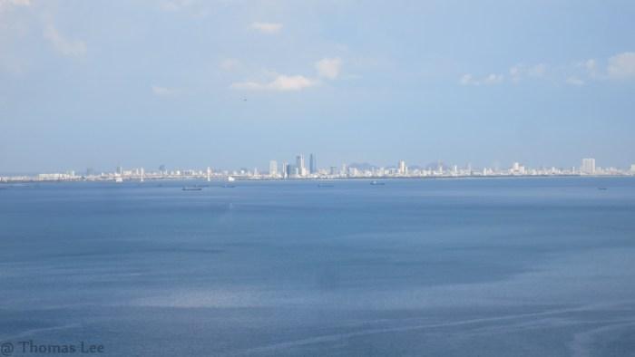 Danang city from train's window view
