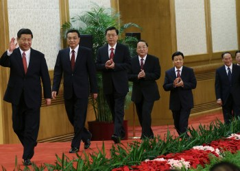 China's new Politburo Standing Committee members (from L to R) Xi Jinping, Li Keqiang, Zhang Dejiang, Yu Zhengsheng, Liu Yunshan, Wang Qishan and Zhang Gaoli, arrive to meet with the press at the Great Hall of the People in Beijing, November 15, 2012. China's ruling Communist Party unveiled its new leadership line-up on Thursday to steer the world's second-largest economy for the next five years, with Vice President Xi Jinping taking over from outgoing President Hu Jintao as party chief. REUTERS/China Daily (CHINA - Tags: POLITICS ELECTIONS TPX IMAGES OF THE DAY) CHINA OUT. NO COMMERCIAL OR EDITORIAL SALES IN CHINA