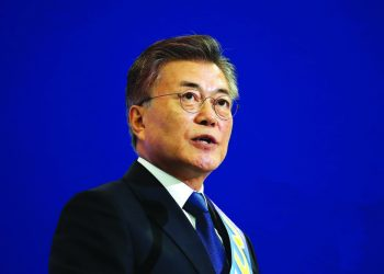 SEOUL, SOUTH KOREA - APRIL 03:  Moon Jae-In, presidential election candidate for the Democratic Party of Korea speech during the primary election on April 3, 2017 in Seoul, South Korea. The Democratic Party of Korea held the last round of its primary election to name its candidate Moon Jae-In for the upcoming presidential election.  (Photo by Chung Sung-Jun/Getty Images)