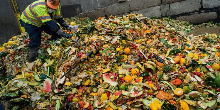 Food waste is sorted at the Puente Hills Material Recovery Facility on Thursday, Feb. 15, 2017. The waste is turned into a slurry and digested along with the treatment of waste water. Los Angeles County produces around 4,000 tons per day of food waste. (Photo by Sarah Reingewirtz, Pasadena Star-News/SCNG)