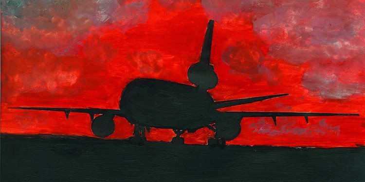 """This is a scan of a watercolor silhouette painting of a KC-10 Extender aircraft by Master Sgt. Scott T. Sturkol from a series of four paintings called """"Silhouette Series: 380th Air Expeditionary Wing Aircraft."""" The paintings have been donated to the wing by the artist and the 380th AEW """"Top Three"""" organization. Sergeant Sturkol is a public affairs superintendent deployed from Air Mobility Command Public Affairs at Scott Air Force Base, Ill. (U.S. Air Force Photo)"""