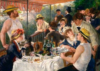 1880-81, oil on canvas. Located in: Phillips Collection, Washington, DC. In the mid-1870s, Pierre-Auguste Renoir (1841-1919) frequented the Maison Fournaise, a riverside retreat at Chatou on the Seine offering boat rentals, a restaurant, and a hotel for visitors. This diverse gathering shows a group of Renoir's friends and colleagues assembled on the balcony overlooking the river. (Photo by VCG Wilson/Corbis via Getty Images)