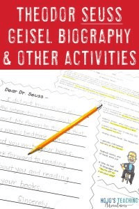 Theodor Seuss Geisel Biography & Other Activities (reading, writing, math, & more)