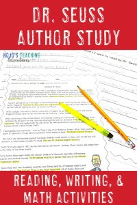 Dr. Suess Author Study - Biography, Facts & Opinions, Reading, Math, Writing, Bookmark, & MORE!