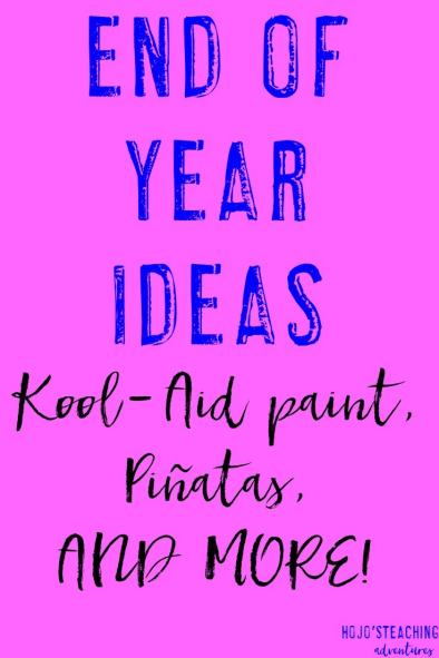 If you're looking for ideas for the end of the school year in your elementary classroom, you'll love these! Give kool-aid paint a try, make a class pinata, or try some of the free ideas! There's ideas for your Kindergarten, 1st, 2nd, 3rd, 4th, 5th, and 6th grade classroom included!