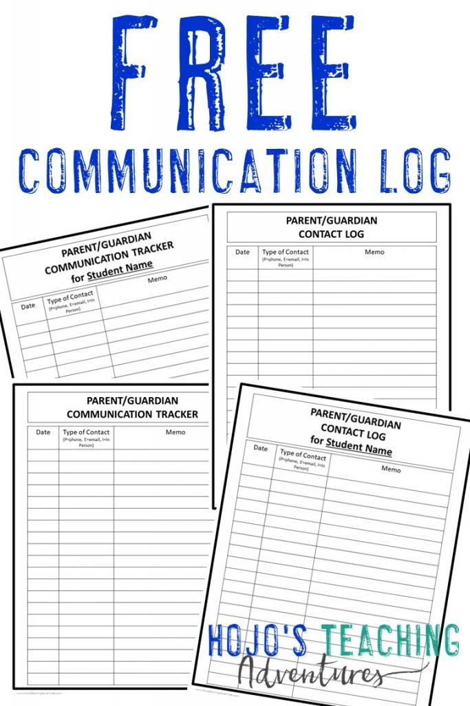 "image showing the four communication log options with the text ""FREE Communication Log"""