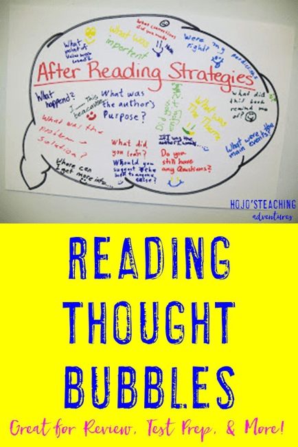 Are you looking for a way to reinforce reading concepts with your 3rd, 4th, 5th, or 6th grade students? Click through to see how this simple Reading Thought Bubble activity can work in your classroom! {Plus it's a great reference even AFTER the activity as well!}