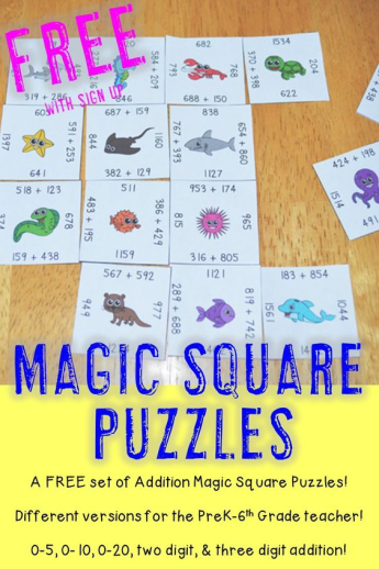 Do you want a free set of Addition Magic Square Puzzles that can be used in your preschool, Kindergarten, 1st, 2nd, 3rd, 4th, 5th, or 6th grade classroom or home school? Then you're going to love these addition 0-5, 0-10, 0-10, and two and three digit - with and without regrouping - Magic Square Puzzles! Click through now to see how you can get these engaging math centers or stations for FREE! {preK, first, second, third, fourth, fifth, sixth graders, freebie, review, early / fast finishers}