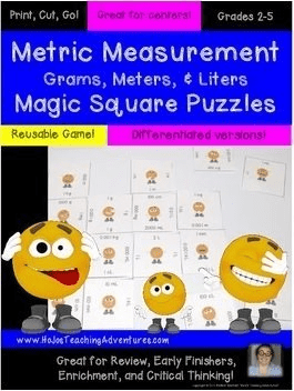 Using Magic Square Puzzles to help teacher Metric Measurement for math test prep