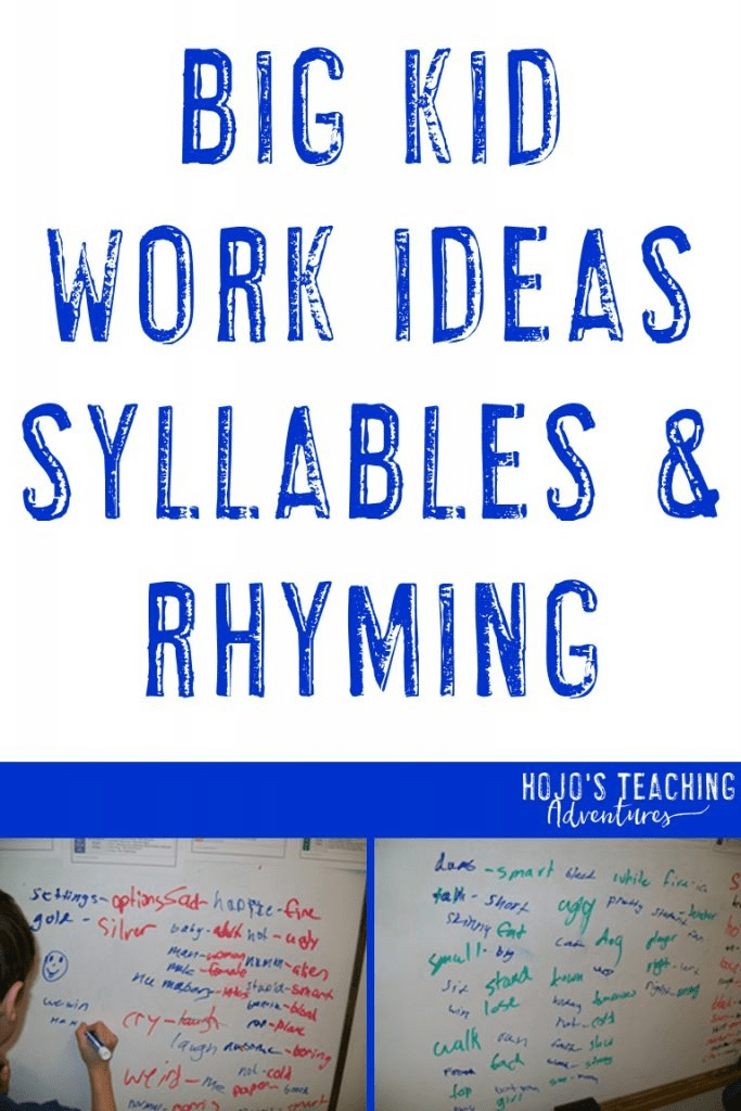 big kid work ideas syllables & rhyming