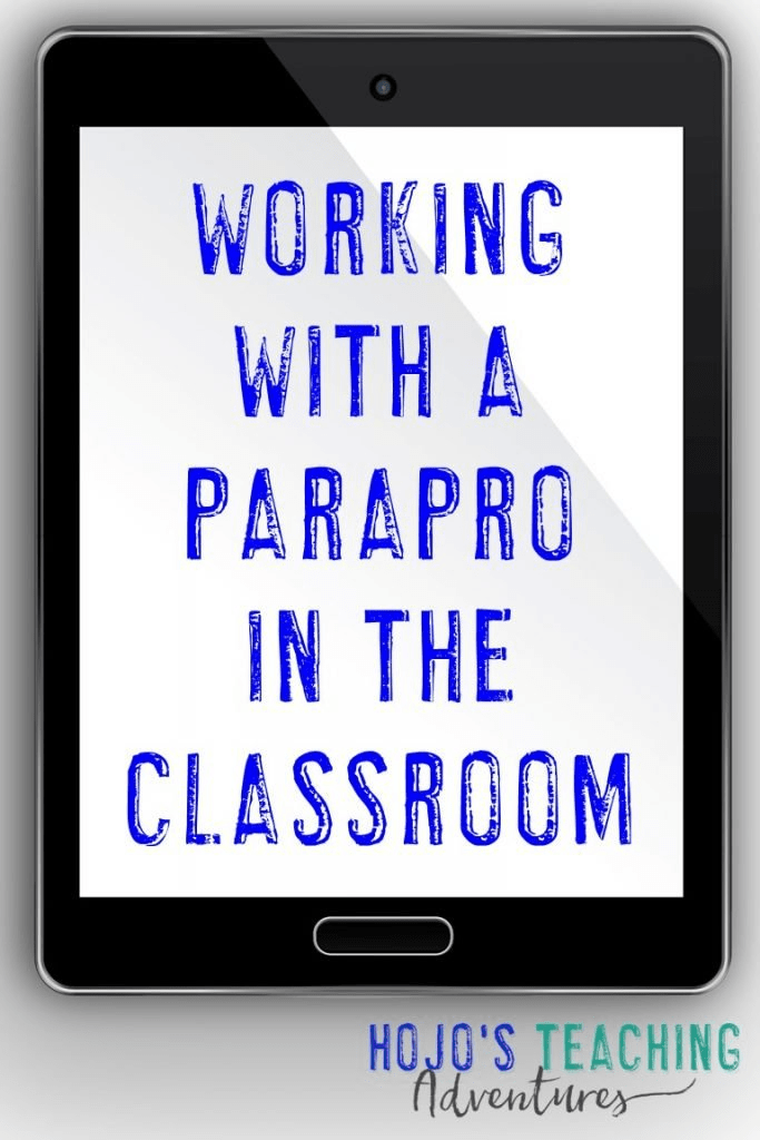"""tablet image with """"Working with a Parapro in the Classroom"""" on the screen"""