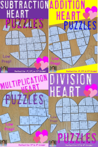 If your students need more practice with basic math facts, you're going to LOVE these heart puzzles for Valentine's Day (or any time of year, really). The addition and subtraction puzzles will be great for your 1st, 2nd, and 3rd grade students. The multiplication and division puzzles are good for 3rd and 4th graders. Click through to learn more and purchase your copy today!