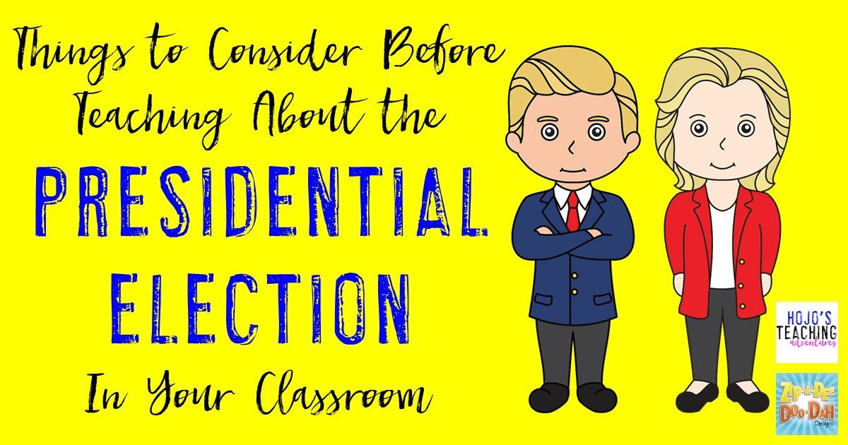 Are you wondering how to teach about the presidential election in your classroom this year? Trust me, you're not alone! That's why these educators came up with their thoughts on how you can best teach about the candidates - that may mean avoiding the conversation altogether, teaching strictly about the election process, or having a full-blown conversation. It's really up to your, but this post will give you plenty of food for thought across grades K-12!